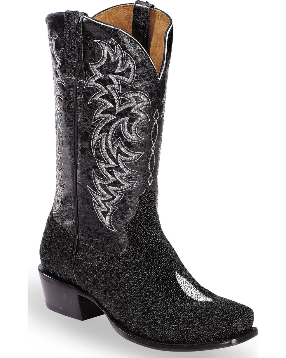 Moonshine Spirit Men's Stingray Exotic Boots - Square Toe, Black, hi-res