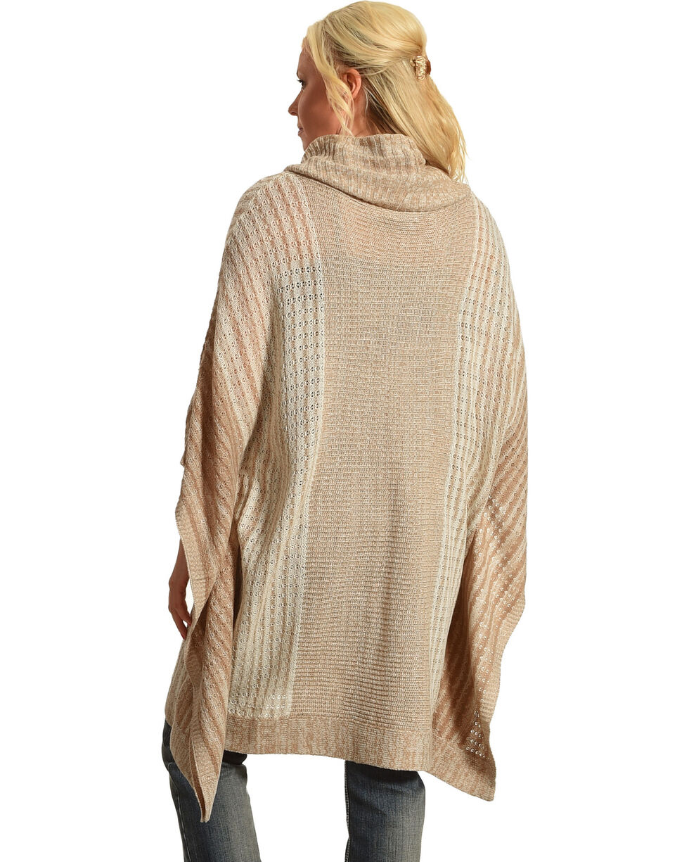Allison Brittney Women's Stripe Cowl Neck Poncho, Taupe, hi-res