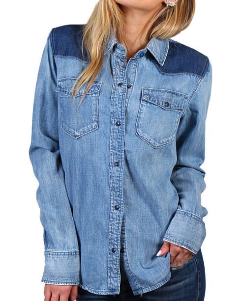 Drift Wood Women's Aztec Embroidery Chambray Shirt, Light/pastel Blue, hi-res