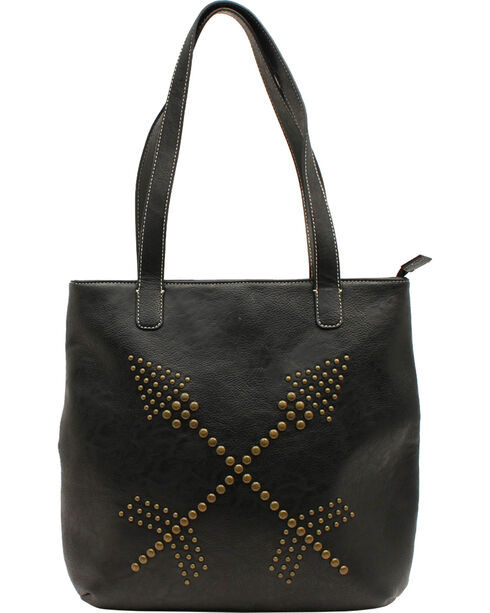 Blazin Roxx Claire Collection Nailhead Double Arrows Tote, Black, hi-res