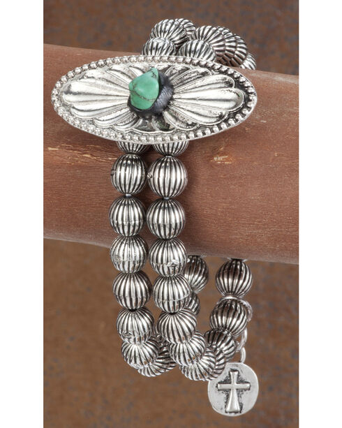 West & Co. Women's Turquoise Blossom Stretch Bracelet, Silver, hi-res