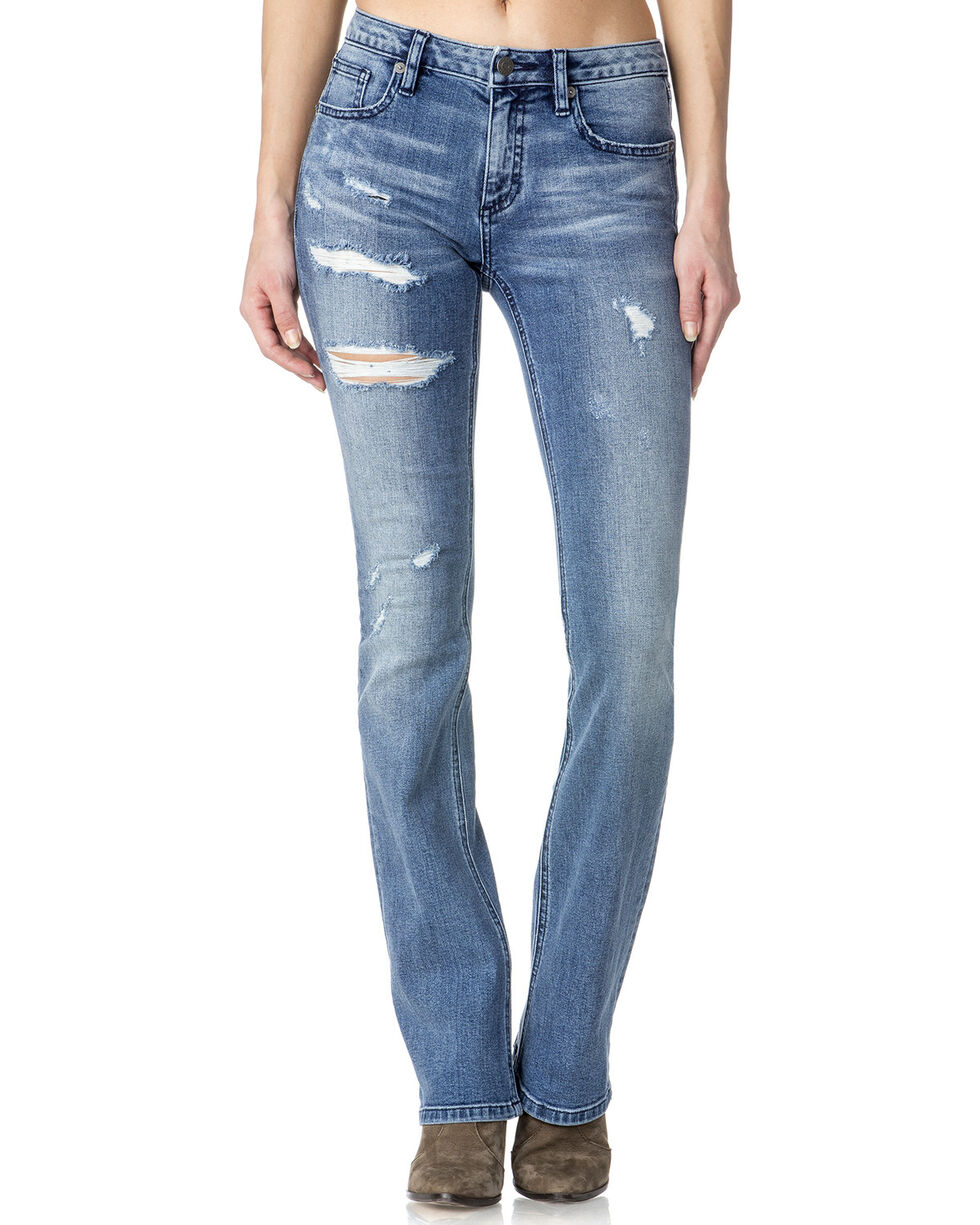 Miss Me Women's Indigo Destructed Jeans - Boot Cut , , hi-res