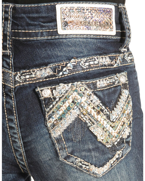 Grace in LA Girls' Zig Zag Stitch Skinny Jeans , Denim, hi-res