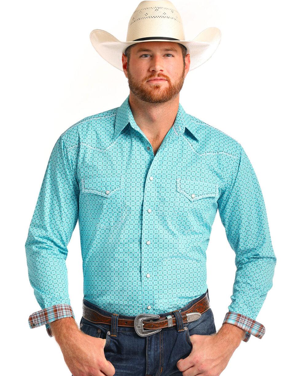 Rough Stock by Panhandle Men's Teal Printed Western Shirt , Teal, hi-res