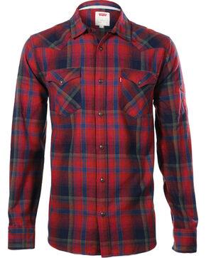 Levi's Men's Long Sleeve Flannel Plaid Shirt, Red, hi-res