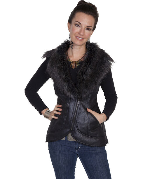 Scully Women's Honey Creek Black Faux Fur Vest, Black, hi-res