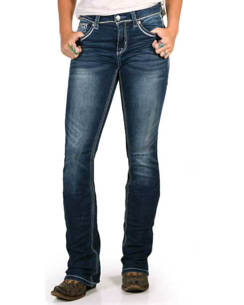Grace in LA Women's Easy Fit Soft Denim Straight Leg Jeans, Indigo, hi-res