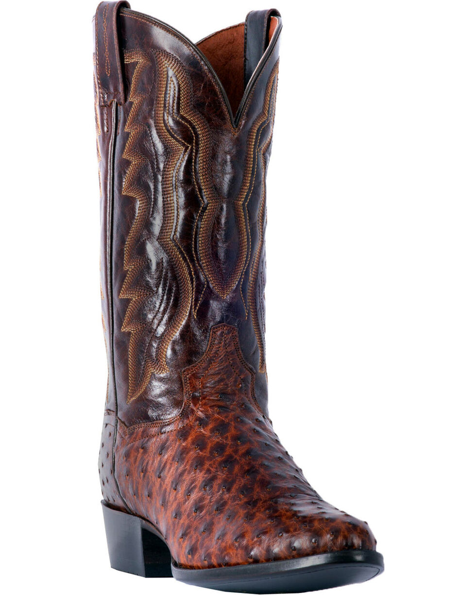 Dan Post Men's Pershing Brass Full Quill Ostrich Cowboy Boots - Round Toe, Brown, hi-res