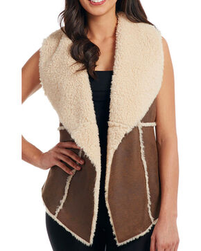 Cripple Creek Women's Open Front Faux Shearling Vest, Tan, hi-res