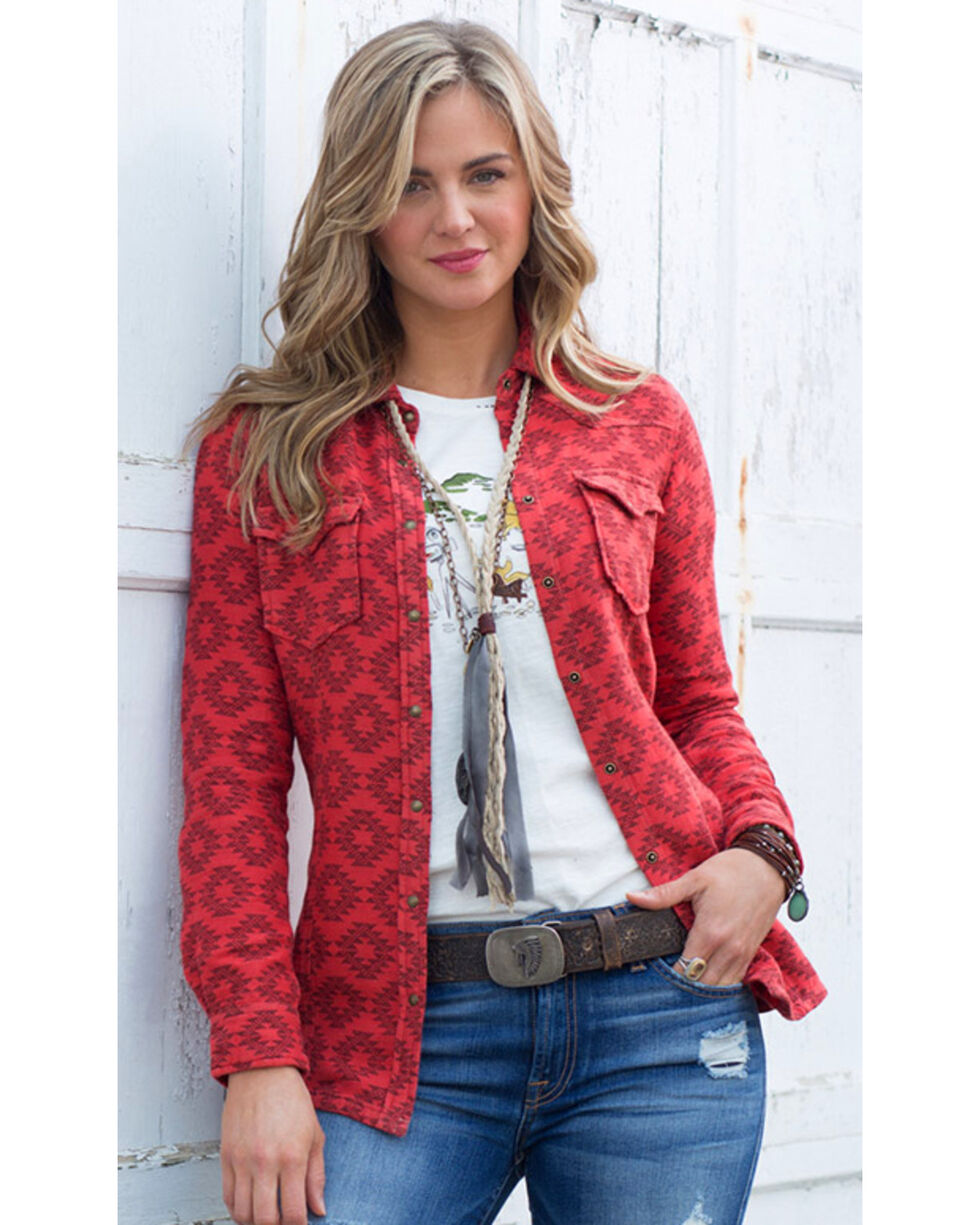 Ryan Michael Women's Mesquite Jacquard Shirt , Red, hi-res