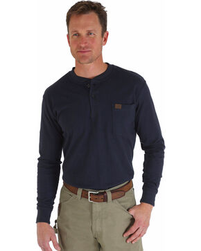 Wrangler Men's Riggs Workwear Navy Long Sleeve Henley - Tall, Navy, hi-res