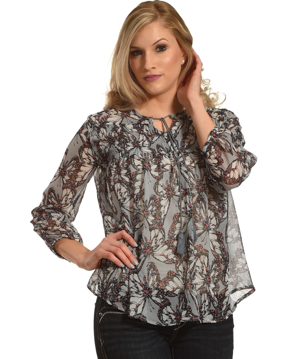 New Direction Sport Women's Blue Butterfly Print Top , Blue, hi-res