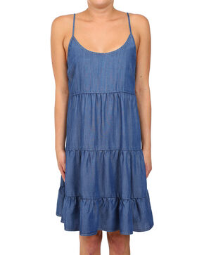 Glam Women's Bahia Tencel Tiered Spaghetti Strap Dress , Medium Blue, hi-res