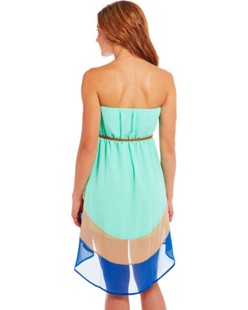 Cowgirl Up Strapless Blue Block Dress, Multi, hi-res