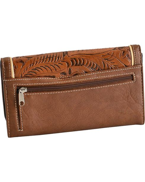 Blazin Roxx Women's Faux Tooled Leather Cross Flap Wallet, Tan, hi-res