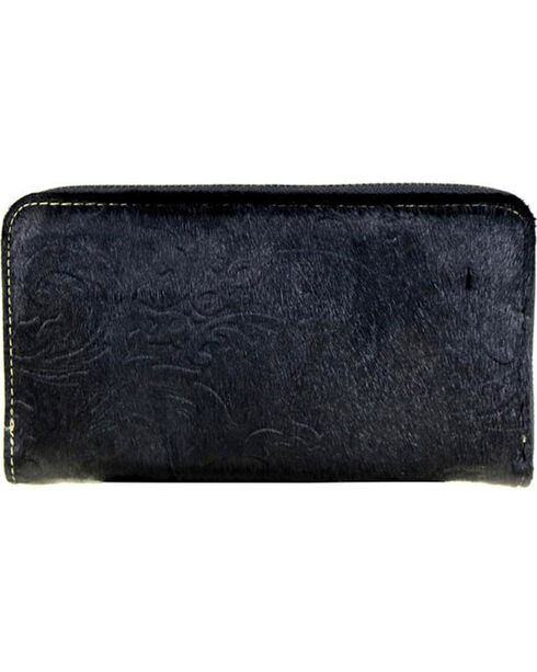 Montana West Trinity Ranch Black Hair-On Leather Wallet , Black, hi-res