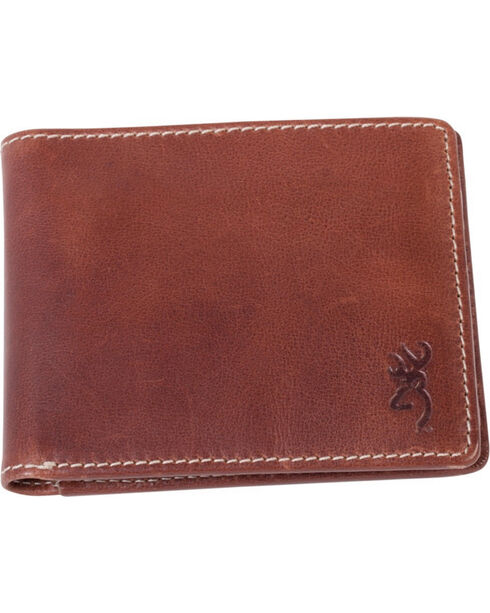 Browning Men's Brown Buckmark Leather Bi-Fold Wallet , Brown, hi-res