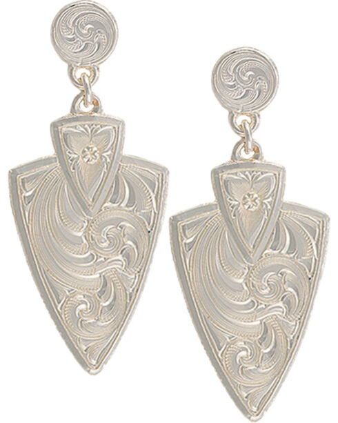 Montana Silversmiths Keen Pursuit Arrowhead Earrings, Silver, hi-res