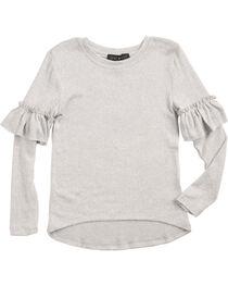 Derek Heart Girls' White Ruffle Detail Long Sleeve Sweater, , hi-res