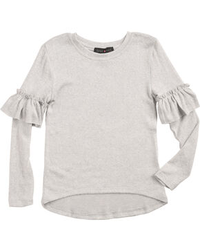 Derek Heart Girls' White Ruffle Detail Long Sleeve Sweater, White, hi-res