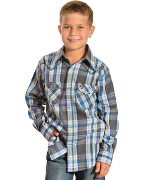 Cowboy Hardware Boys' Wild West Plaid Western Shirt, Blue, hi-res