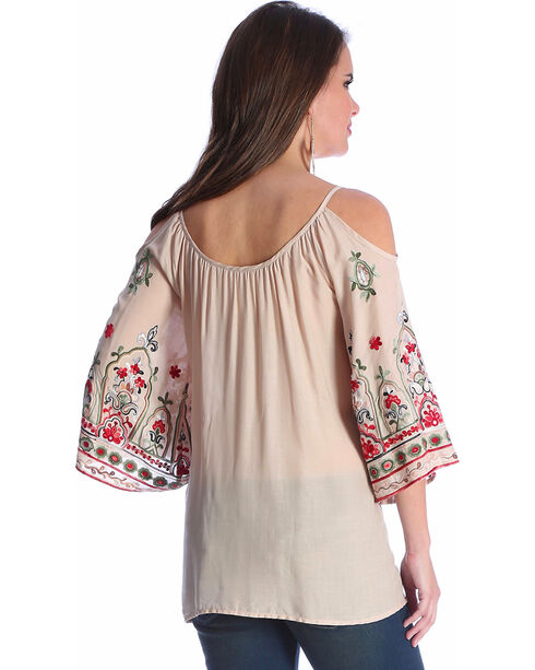 Wrangler Women's Cream Cold Shoulder Embroidered Top , Cream, hi-res