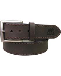 Berne Men's Heavy Stitch Genuine Leather Belt , Brown, hi-res