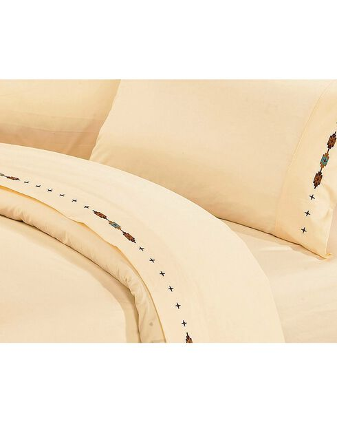 HiEnd Accents Cross Embroidered Cream Sheet Set - Queen, Cream, hi-res
