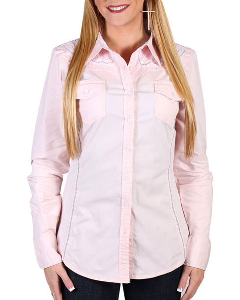 Grace In LA Women's Embroidered Western Shirt , Pink, hi-res