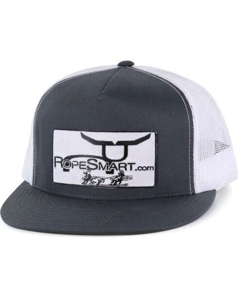 RopeSmart Men's Patch Snap-Back Trucker Hat, Grey, hi-res