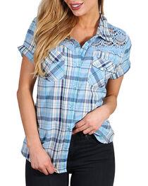 Henna Women's Blue Plaid Crochet Western Shirt , , hi-res