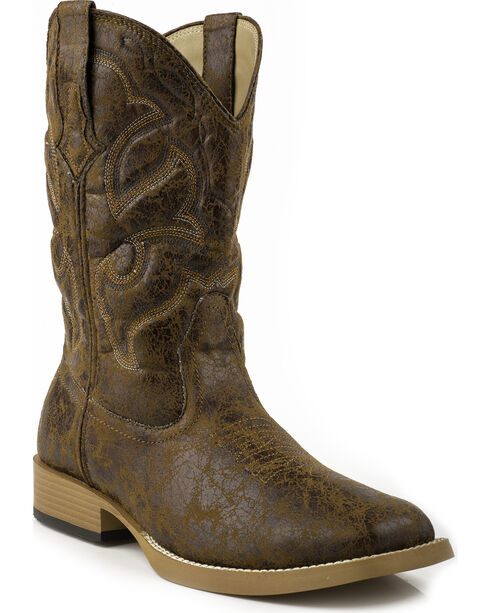 Roper Men's Distressed Broad Square Toe Western Boots, Tan, hi-res