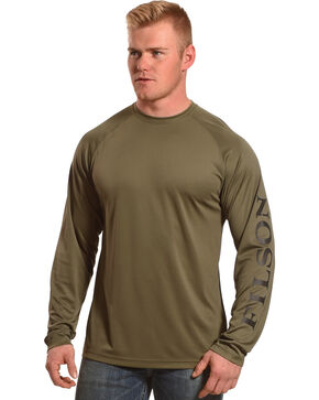 Filson Men's Olive Green Long Sleeve Barrier T-Shirt, Olive, hi-res