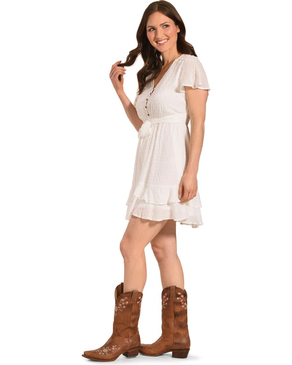 Jolt Women's White Tie Front Clip Dot Dress , White, hi-res
