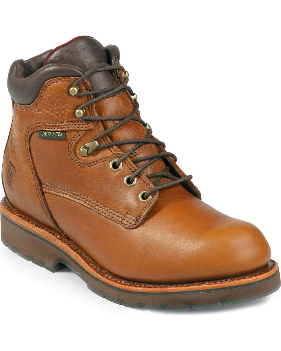 Chippewa Men's Steel Toe Lace Up Work Boots, Tan, hi-res