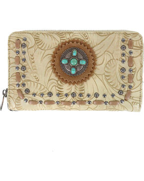 Trinity Ranch Women's Tooled Western Wallet, Tan, hi-res