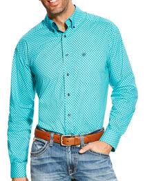 Ariat Men's Turquoise Atherton Print Western Shirt , , hi-res