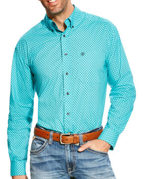 Ariat Men's Turquoise Atherton Print Western Shirt , Turquoise, hi-res