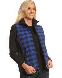 Jane Ashley Women's Blue and Black Plaid Flannel Vest , Blue, hi-res