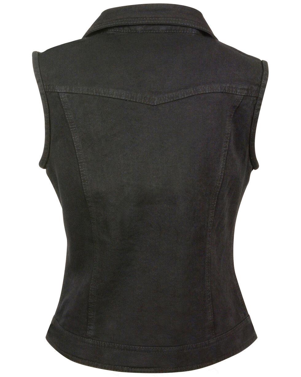 Milwaukee Leather Women's Studded Zip Front Denim Vest - 3X/4X, Black, hi-res