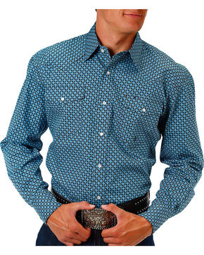 Roper Men's Circle Printed Long Sleeve Shirt, Blue, hi-res