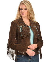 Scully Fringe & Beaded Boar Suede Leather Jacket, , hi-res