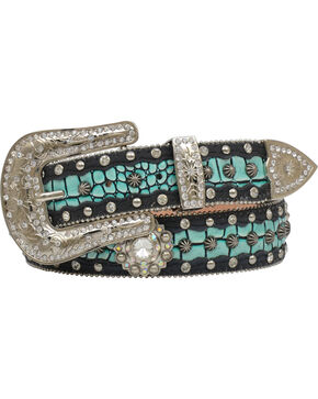 "Angel Ranch Women's 1.5"" Turquoise Gator Inlay Fashion Belt, Black, hi-res"
