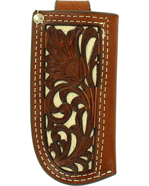 Nocona Floral Tooled Leather and Ivory Inlay Knife Sheath , Ivory, hi-res
