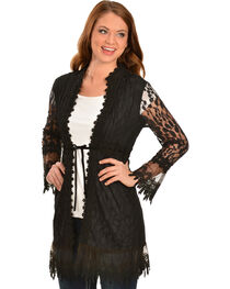 Young Essence Women's Black Crocheted Lace Cardigan, , hi-res