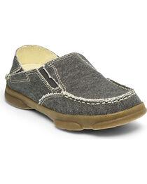 Tony Lama Kid's Lindale Canvas Slip-On Shoes, Black, hi-res