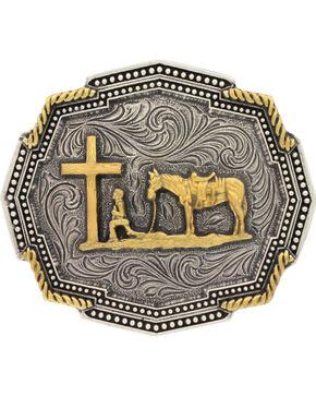 Montana Silversmiths Twisted Rope Corner Praying Cowboy Buckle, Silver, hi-res