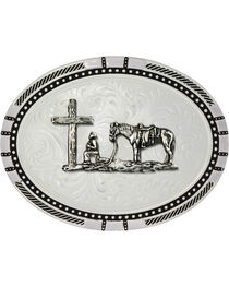 Montana Silversmiths New Traditions Four Directions Christian Cowboy Belt Buckle, , hi-res