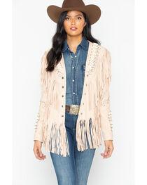 Liberty Wear Studded Fringed Leather Jacket, , hi-res