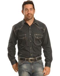 Crazy Cowboy Men's Grey Triple-Stitch Western Snap Shirt , , hi-res